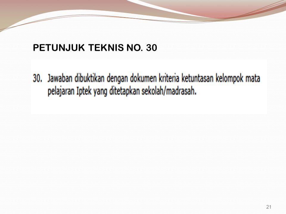 PETUNJUK TEKNIS NO. 30 21