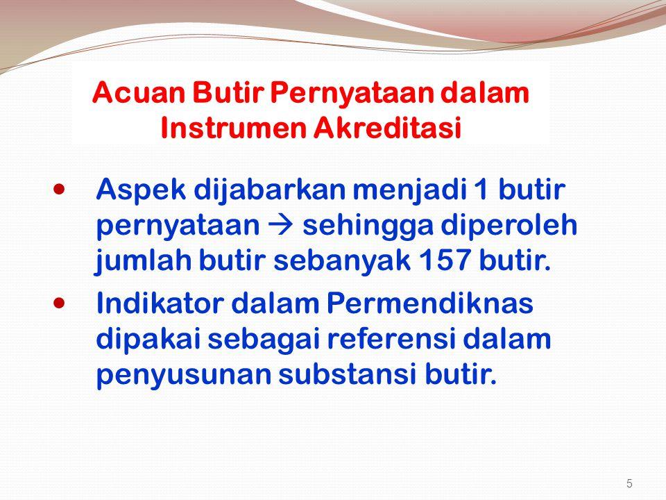 Acuan Butir Pernyataan dalam Instrumen Akreditasi Aspek dijabarkan menjadi 1 butir pernyataan  sehingga diperoleh jumlah butir sebanyak 157 butir. In