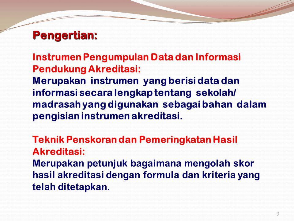 Pengertian: Instrumen Pengumpulan Data dan Informasi Pendukung Akreditasi: Merupakan instrumen yang berisi data dan informasi secara lengkap tentang sekolah/ madrasah yang digunakan sebagai bahan dalam pengisian instrumen akreditasi.
