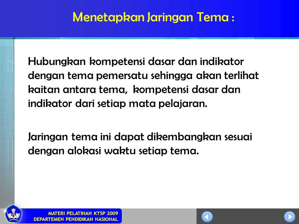 MATERI PELATIHAN KTSP 2009 DEPARTEMEN PENDIDIKAN NASIONAL Menetapkan Jaringan Tema : Hubungkan kompetensi dasar dan indikator dengan tema pemersatu se