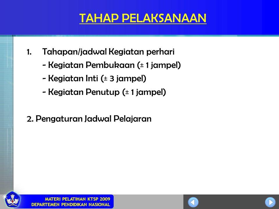 MATERI PELATIHAN KTSP 2009 DEPARTEMEN PENDIDIKAN NASIONAL TAHAP PELAKSANAAN 1.Tahapan/jadwal Kegiatan perhari - Kegiatan Pembukaan (± 1 jampel) - Kegi