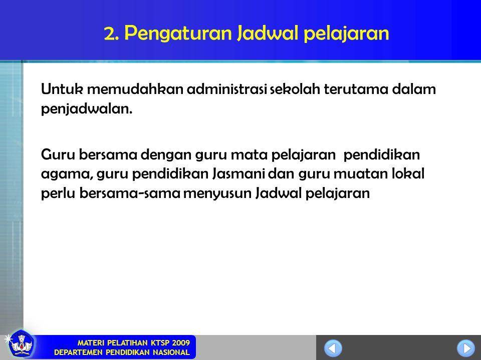 MATERI PELATIHAN KTSP 2009 DEPARTEMEN PENDIDIKAN NASIONAL 2. Pengaturan Jadwal pelajaran Untuk memudahkan administrasi sekolah terutama dalam penjadwa