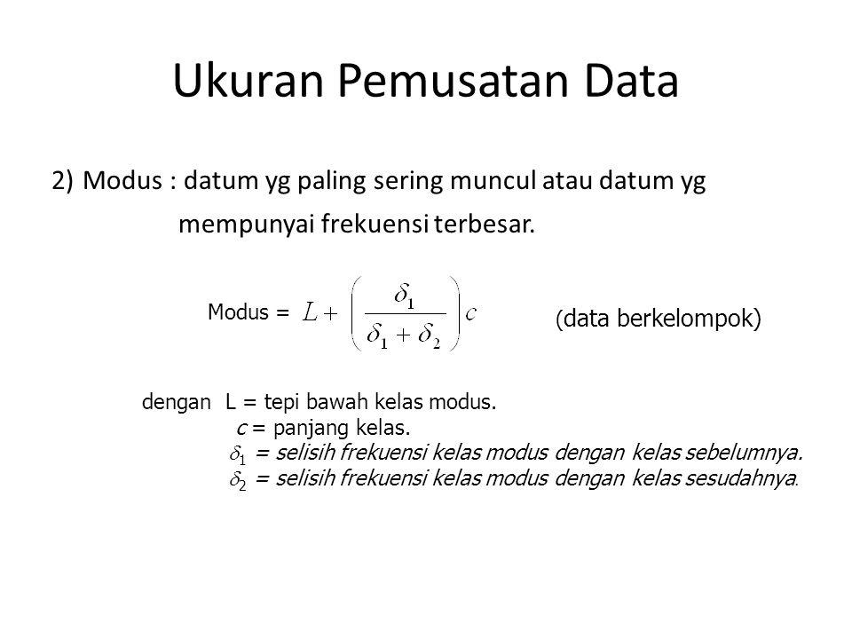 Ukuran Pemusatan Data 3) Median : nilai yang membagi data yang telah diurutkan menjadi dua bagian yang sama banyak Misalkan dipunyai bilangan-bilangan