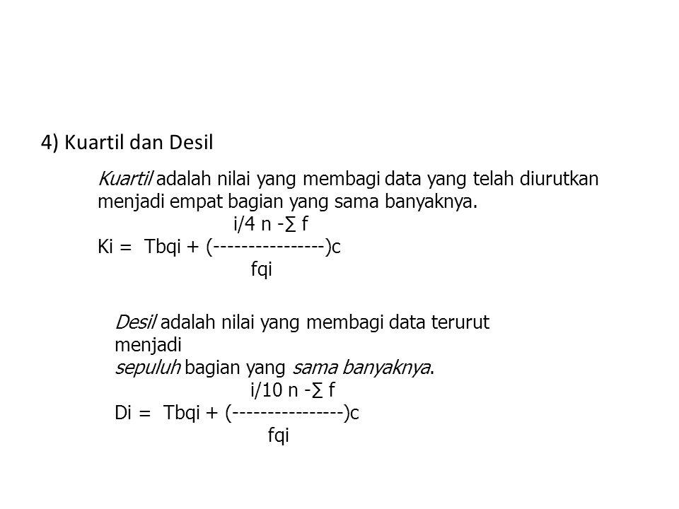 Ukuran Pemusatan Data 2) Modus : datum yg paling sering muncul atau datum yg mempunyai frekuensi terbesar. Modus = dengan L = tepi bawah kelas modus.