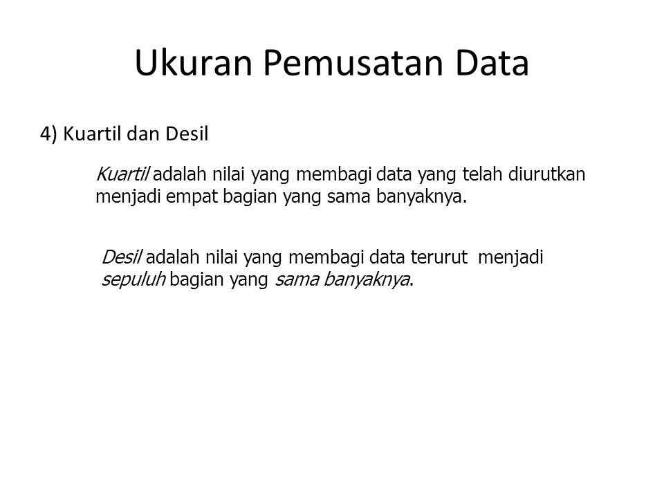 4) Kuartil dan Desil Kuartil adalah nilai yang membagi data yang telah diurutkan menjadi empat bagian yang sama banyaknya. i/4 n -∑ f Ki = Tbqi + (---