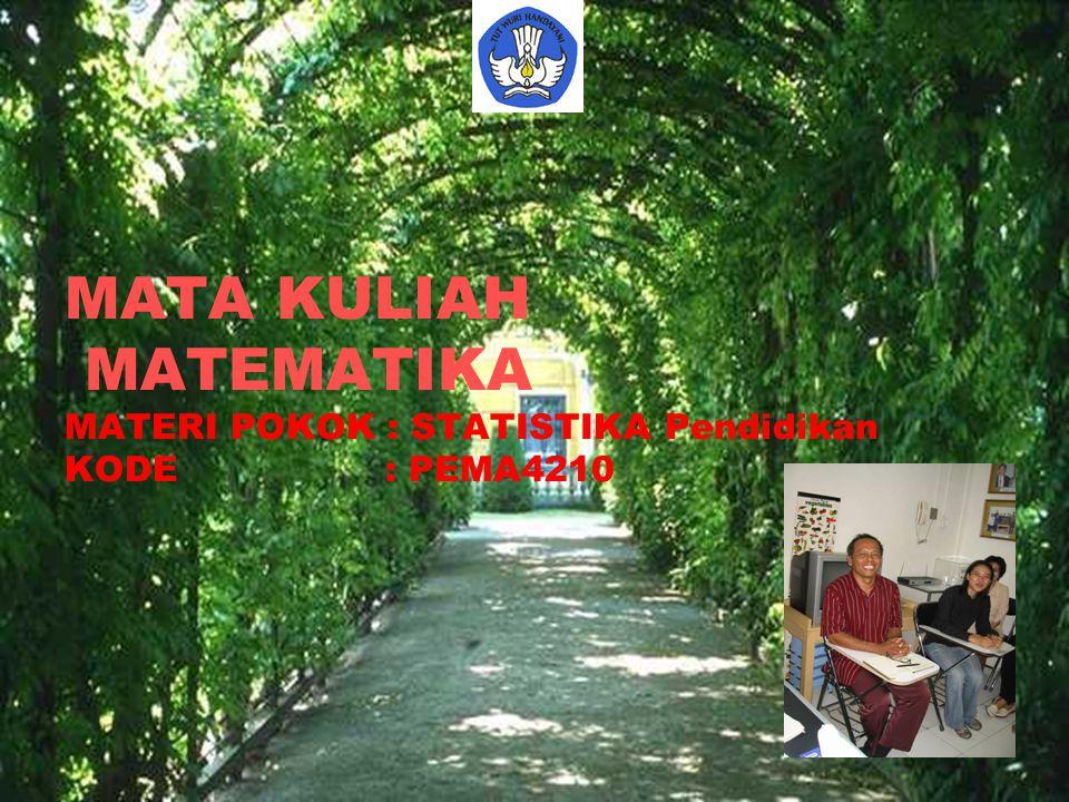 MATA KULIAH MATEMATIKA MATERI POKOK : STATISTIKA Pendidikan KODE: PEMA4210