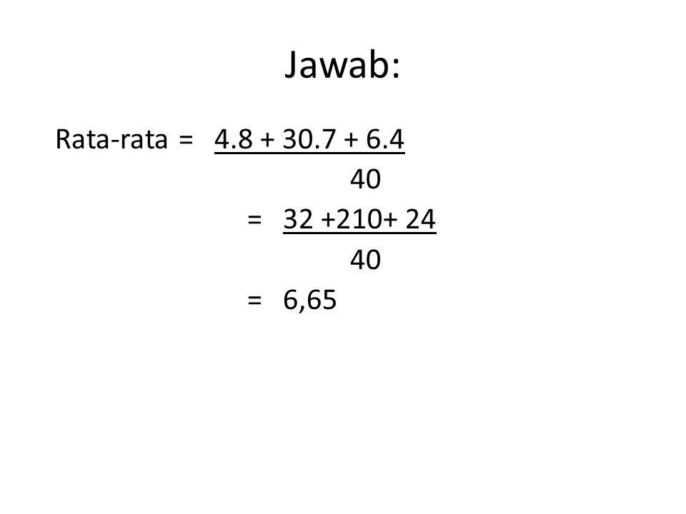 DATA TUNGGAL Jumlah Data Rata –Rata = -------------------------- Banyaknya data _ Notasi X = ∑ X i /n _ X = ∑ f i X i ∑f i
