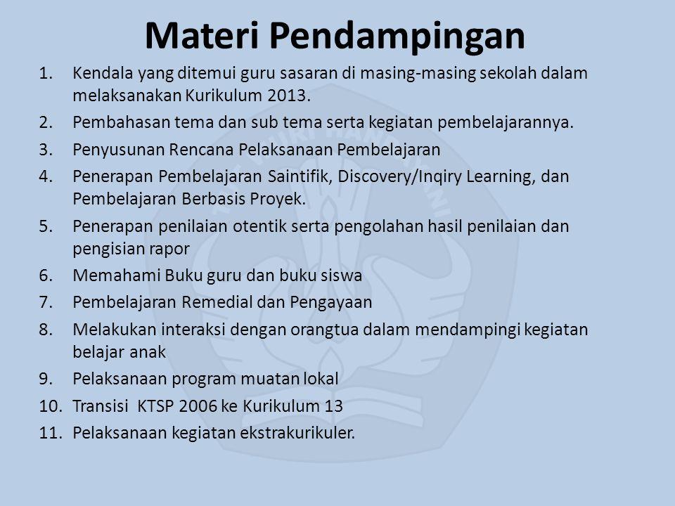 Materi Pendampingan 1.Kendala yang ditemui guru sasaran di masing-masing sekolah dalam melaksanakan Kurikulum 2013. 2.Pembahasan tema dan sub tema ser