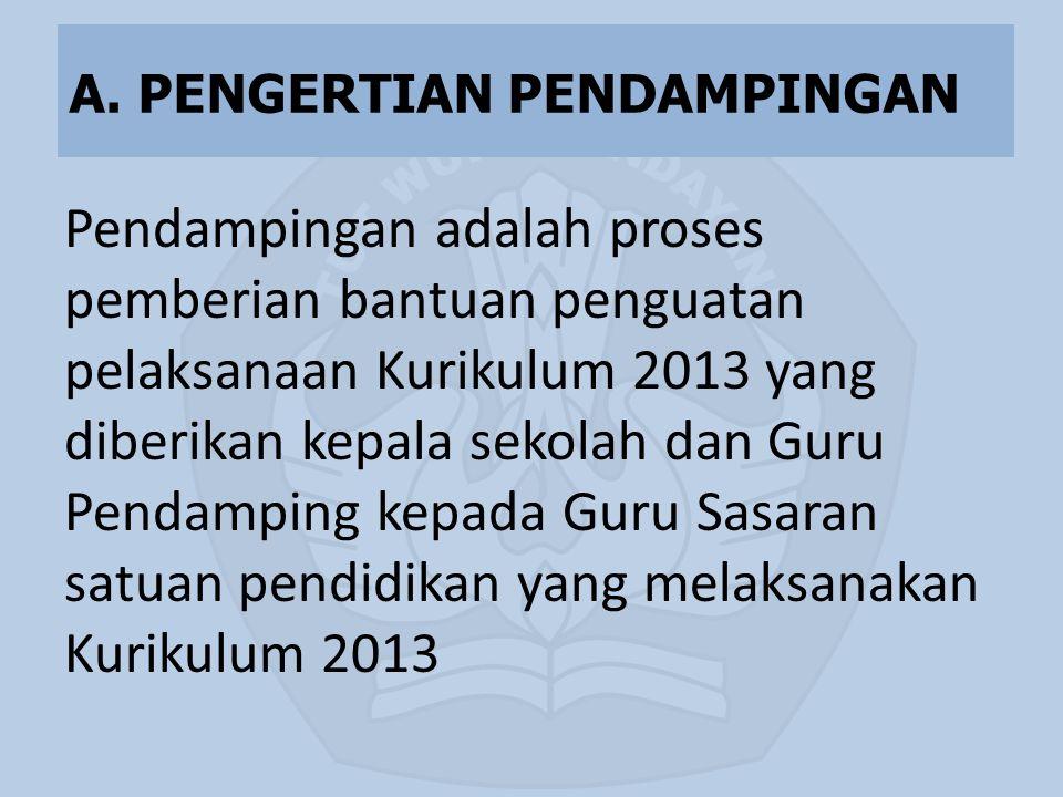 Pendampingan adalah proses pemberian bantuan penguatan pelaksanaan Kurikulum 2013 yang diberikan kepala sekolah dan Guru Pendamping kepada Guru Sasara