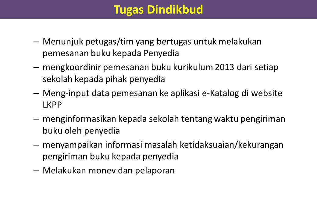 Tugas Dindikbud – Menunjuk petugas/tim yang bertugas untuk melakukan pemesanan buku kepada Penyedia – mengkoordinir pemesanan buku kurikulum 2013 dari