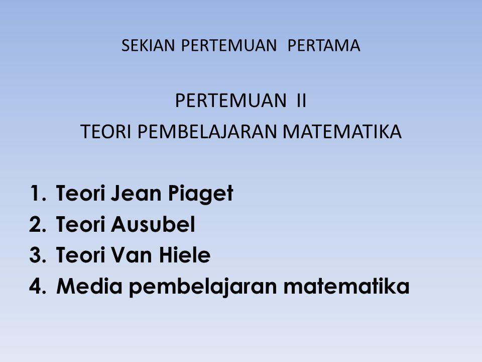 SEKIAN PERTEMUAN PERTAMA PERTEMUAN II TEORI PEMBELAJARAN MATEMATIKA 1.Teori Jean Piaget 2.Teori Ausubel 3.Teori Van Hiele 4.Media pembelajaran matemat