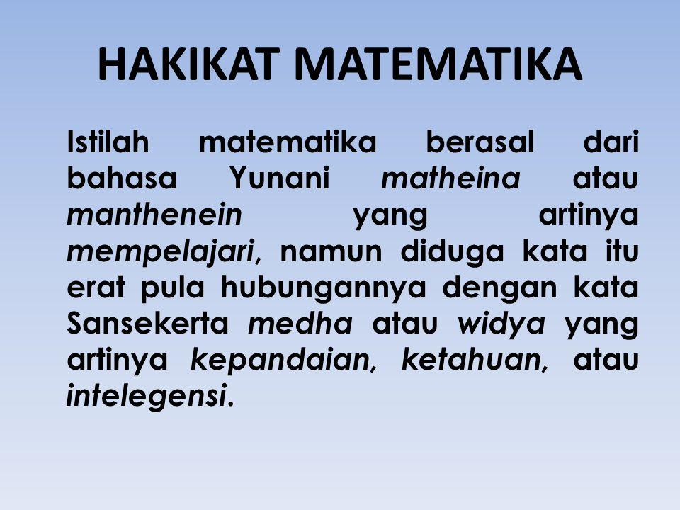 HAKIKAT MATEMATIKA Istilah matematika berasal dari bahasa Yunani matheina atau manthenein yang artinya mempelajari, namun diduga kata itu erat pula hu