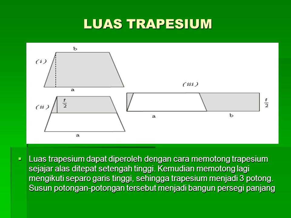 LUAS TRAPESIUM  Luas trapesium dapat diperoleh dengan cara memotong trapesium sejajar alas ditepat setengah tinggi.