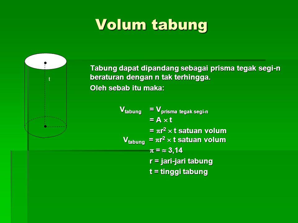 Volum tabung Tabung dapat dipandang sebagai prisma tegak segi-n beraturan dengan n tak terhingga.