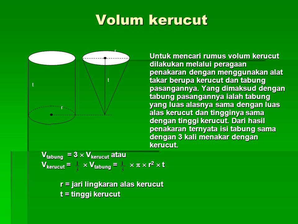 Volum kerucut Untuk mencari rumus volum kerucut dilakukan melalui peragaan penakaran dengan menggunakan alat takar berupa kerucut dan tabung pasangannya.