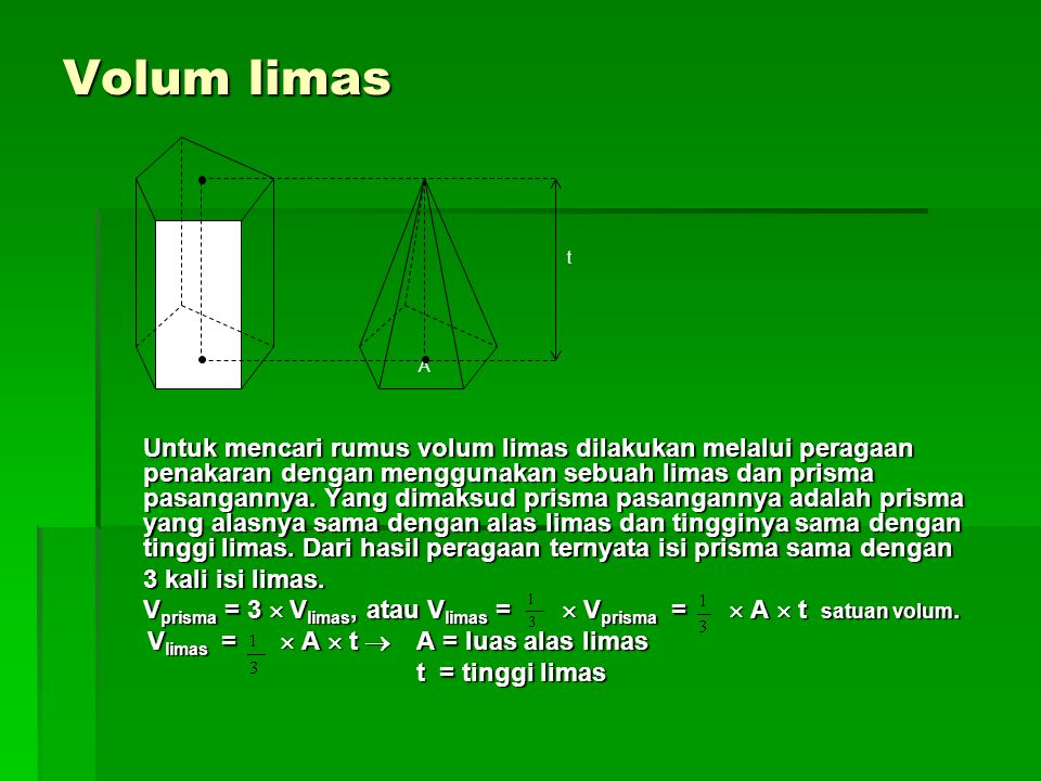Volum limas Untuk mencari rumus volum limas dilakukan melalui peragaan penakaran dengan menggunakan sebuah limas dan prisma pasangannya.