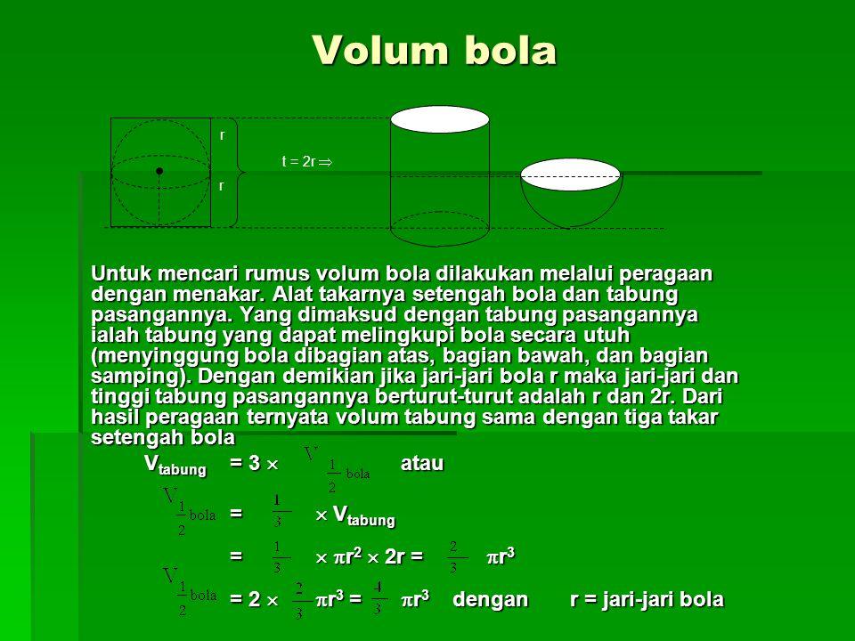 Volum bola Untuk mencari rumus volum bola dilakukan melalui peragaan dengan menakar.