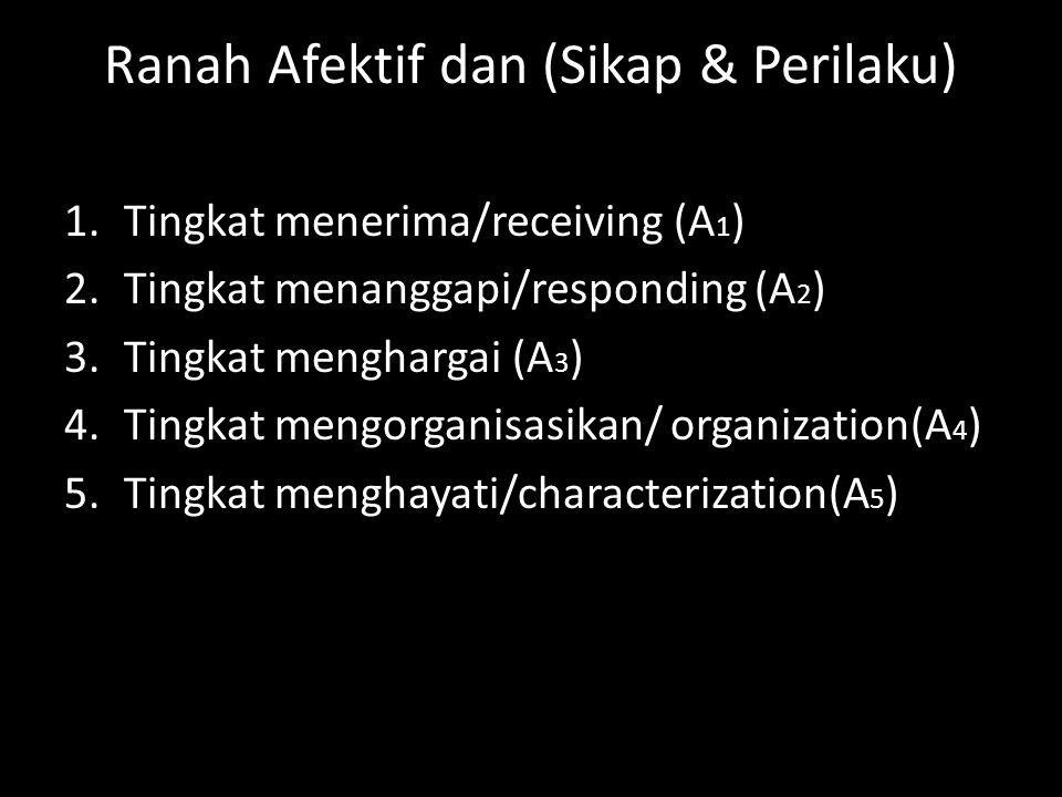 Ranah Afektif dan (Sikap & Perilaku) 1.Tingkat menerima/receiving (A 1 ) 2.Tingkat menanggapi/responding (A 2 ) 3.Tingkat menghargai (A 3 ) 4.Tingkat
