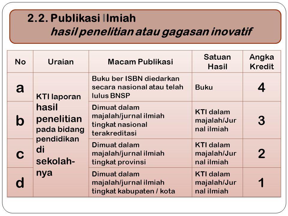 19 2.2. Publikasi Ilmiah hasil penelitian atau gagasan inovatif