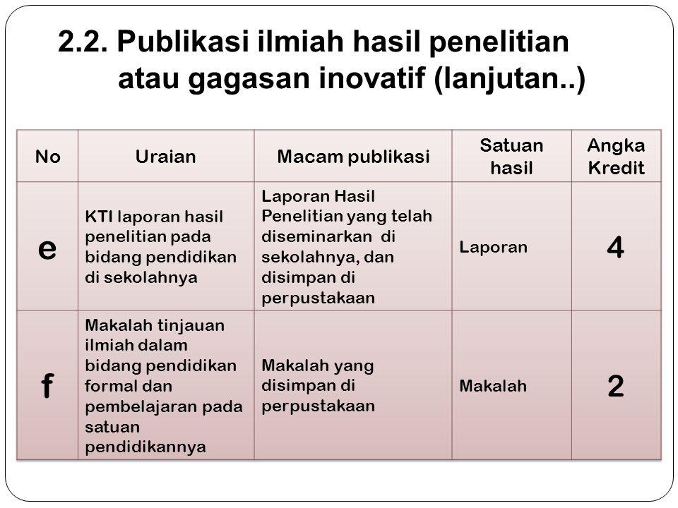 20 2.2. Publikasi ilmiah hasil penelitian atau gagasan inovatif (lanjutan..)