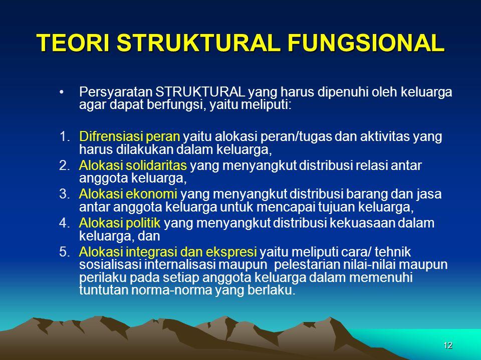 12 TEORI STRUKTURAL FUNGSIONAL Persyaratan STRUKTURAL yang harus dipenuhi oleh keluarga agar dapat berfungsi, yaitu meliputi: 1.Difrensiasi peran yait
