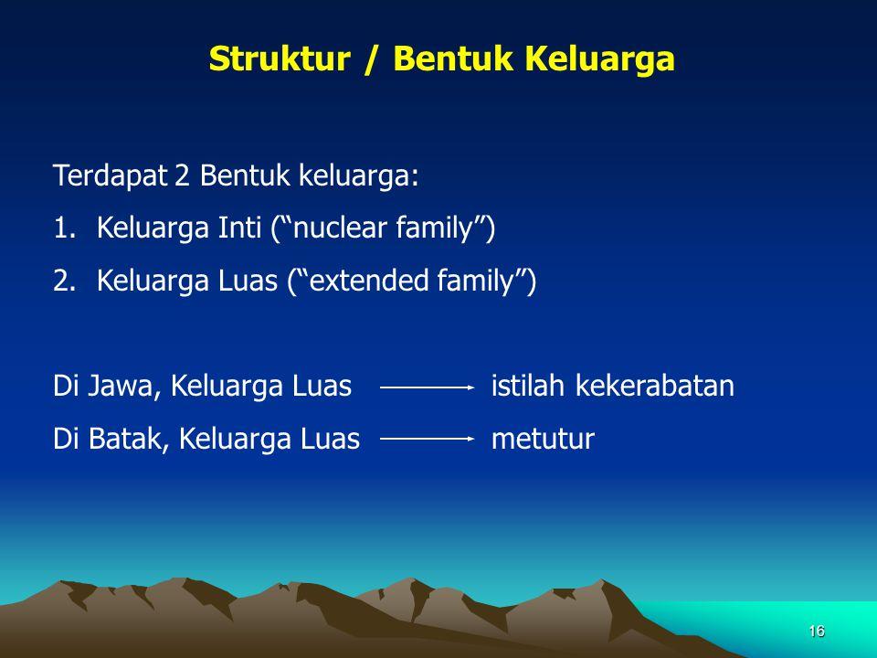 """16 Struktur / Bentuk Keluarga Terdapat 2 Bentuk keluarga: 1.Keluarga Inti (""""nuclear family"""") 2.Keluarga Luas (""""extended family"""") Di Jawa, Keluarga Lua"""