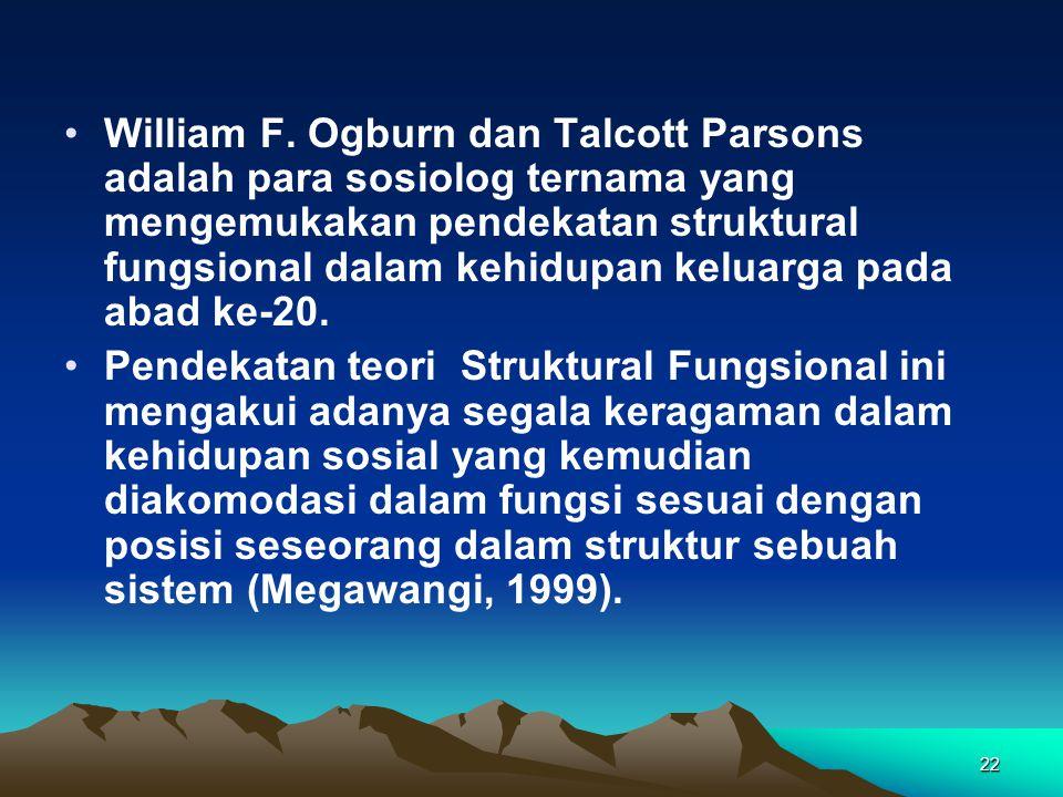 22 William F. Ogburn dan Talcott Parsons adalah para sosiolog ternama yang mengemukakan pendekatan struktural fungsional dalam kehidupan keluarga pada