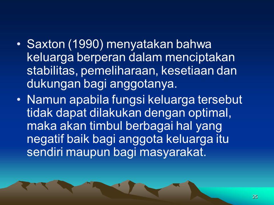 25 Saxton (1990) menyatakan bahwa keluarga berperan dalam menciptakan stabilitas, pemeliharaan, kesetiaan dan dukungan bagi anggotanya. Namun apabila