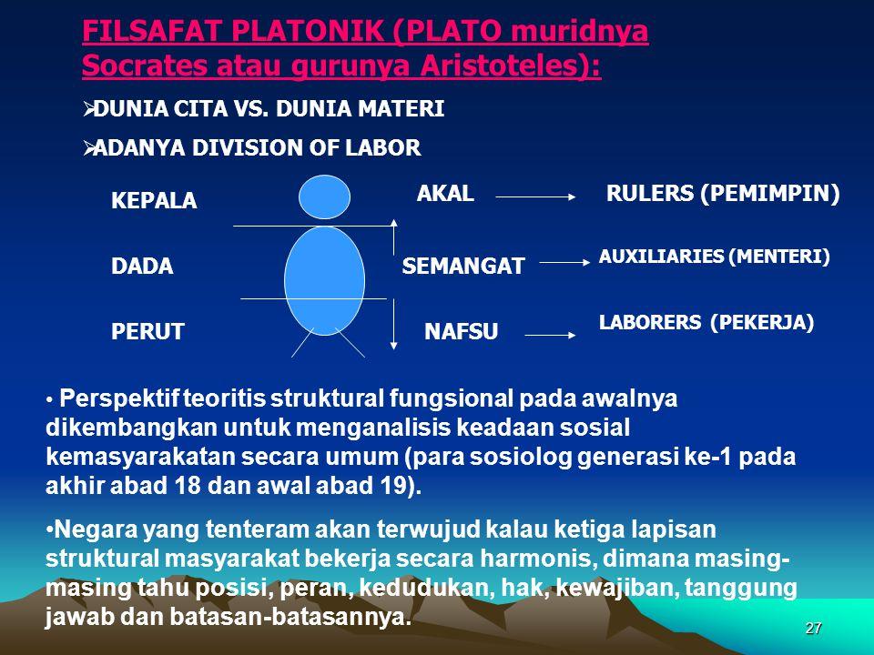 27 FILSAFAT PLATONIK (PLATO muridnya Socrates atau gurunya Aristoteles):  DUNIA CITA VS. DUNIA MATERI  ADANYA DIVISION OF LABOR AKAL SEMANGAT NAFSU