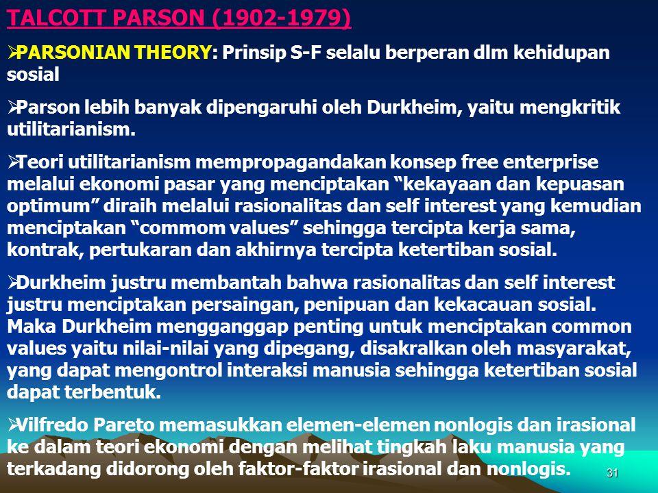 31 TALCOTT PARSON (1902-1979)  PARSONIAN THEORY: Prinsip S-F selalu berperan dlm kehidupan sosial  Parson lebih banyak dipengaruhi oleh Durkheim, ya