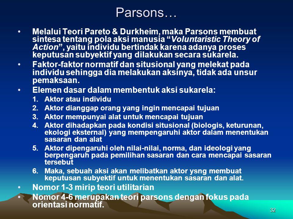 "32 Parsons… Melalui Teori Pareto & Durkheim, maka Parsons membuat sintesa tentang pola aksi manusia ""Voluntaristic Theory of Action"", yaitu individu b"