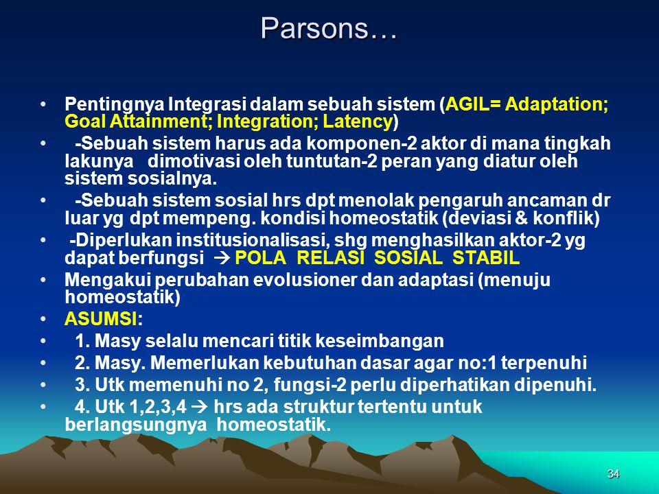 34 Parsons… Pentingnya Integrasi dalam sebuah sistem (AGIL= Adaptation; Goal Attainment; Integration; Latency) -Sebuah sistem harus ada komponen-2 akt