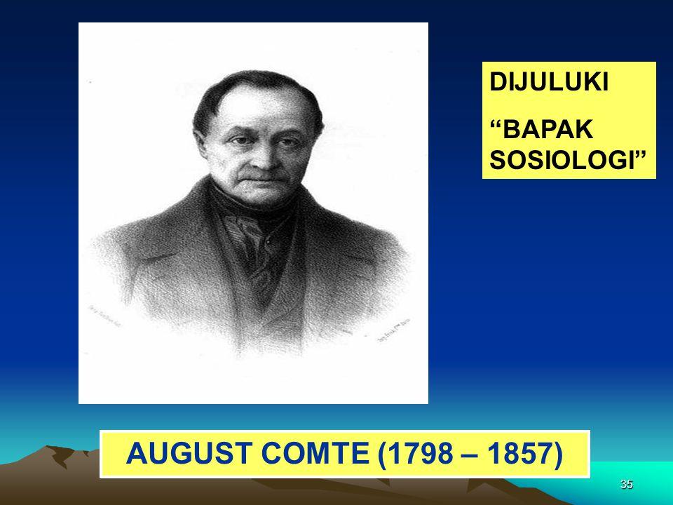"35 AUGUST COMTE (1798 – 1857) DIJULUKI ""BAPAK SOSIOLOGI"""