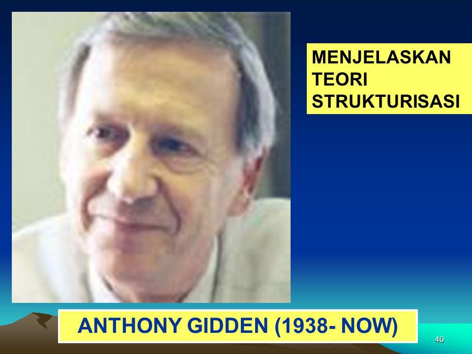 40 ANTHONY GIDDEN (1938- NOW) MENJELASKAN TEORI STRUKTURISASI