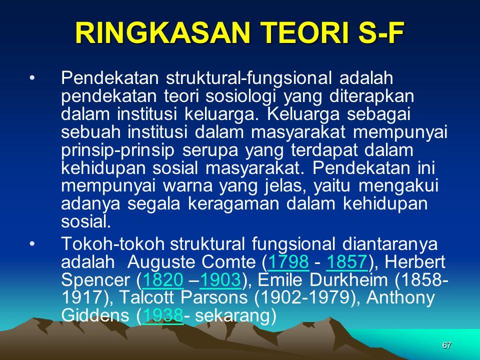 67 RINGKASAN TEORI S-F Pendekatan struktural-fungsional adalah pendekatan teori sosiologi yang diterapkan dalam institusi keluarga. Keluarga sebagai s