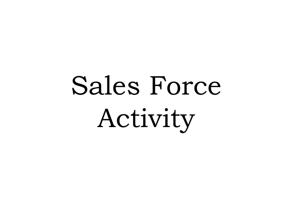 Sales Force Activity