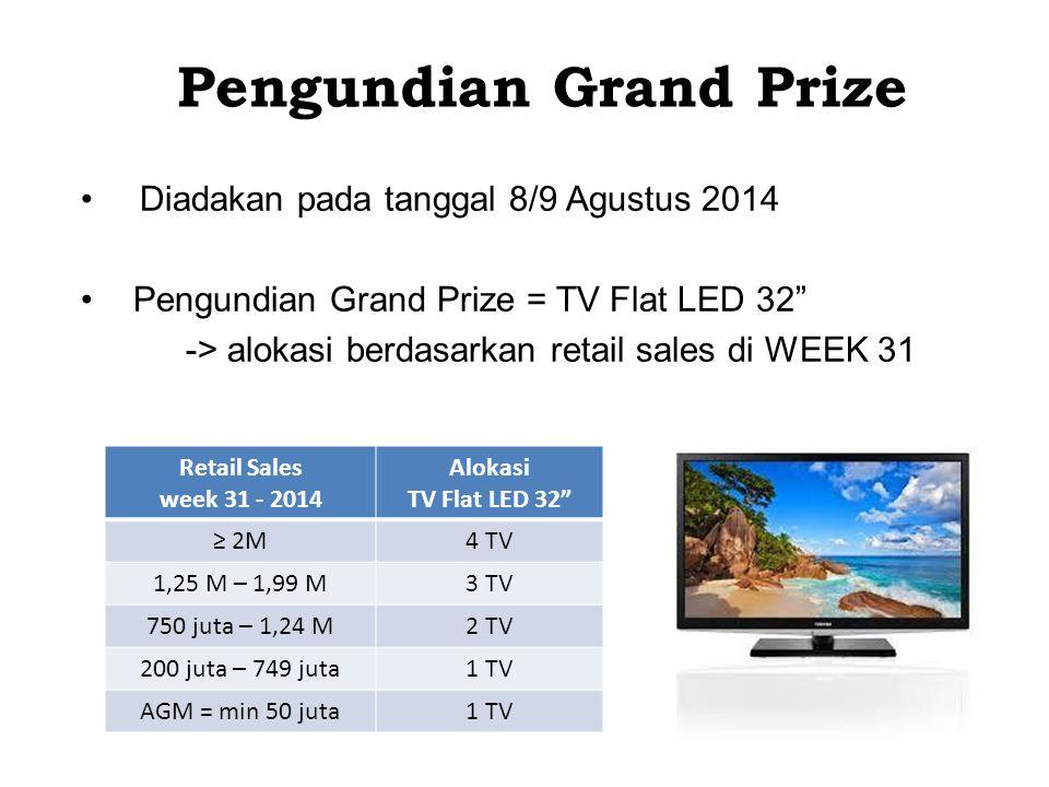Pengundian Grand Prize Diadakan pada tanggal 8/9 Agustus 2014 Pengundian Grand Prize = TV Flat LED 32 -> alokasi berdasarkan retail sales di WEEK 31 Retail Sales week 31 - 2014 Alokasi TV Flat LED 32 ≥ 2M4 TV 1,25 M – 1,99 M3 TV 750 juta – 1,24 M2 TV 200 juta – 749 juta1 TV AGM = min 50 juta1 TV