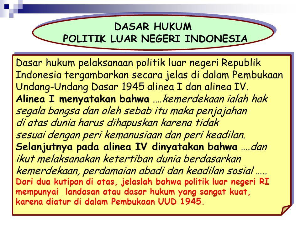 DASAR HUKUM POLITIK LUAR NEGERI INDONESIA DASAR HUKUM POLITIK LUAR NEGERI INDONESIA Dasar hukum pelaksanaan politik luar negeri Republik Indonesia ter