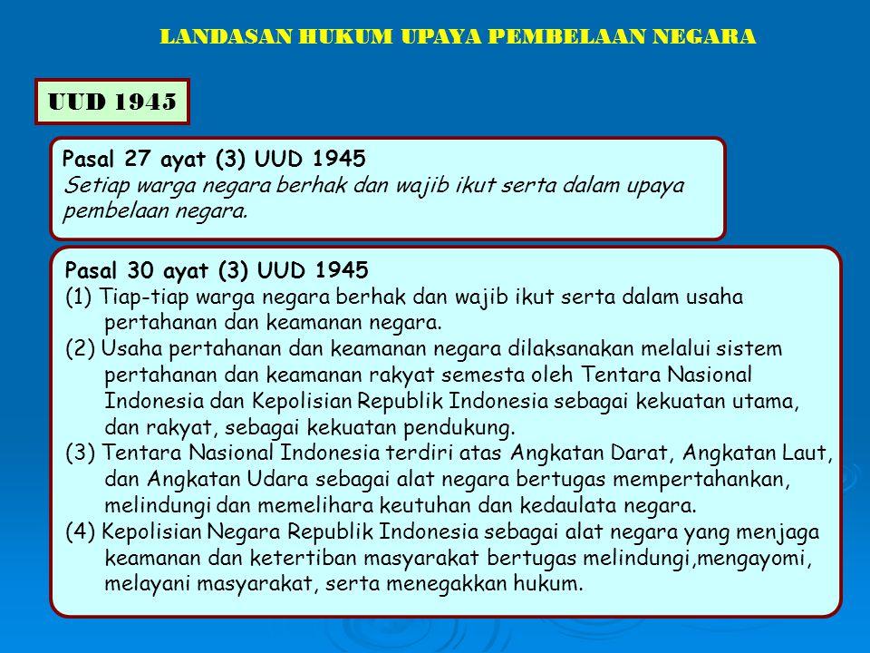 Pasal 27 ayat (3) UUD 1945 Setiap warga negara berhak dan wajib ikut serta dalam upaya pembelaan negara. LANDASAN HUKUM UPAYA PEMBELAAN NEGARA UUD 194