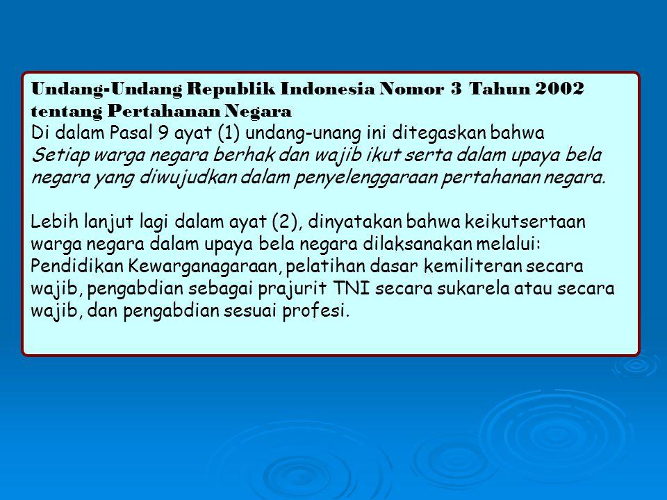 Undang-Undang Republik Indonesia Nomor 3 Tahun 2002 tentang Pertahanan Negara Di dalam Pasal 9 ayat (1) undang-unang ini ditegaskan bahwa Setiap warga