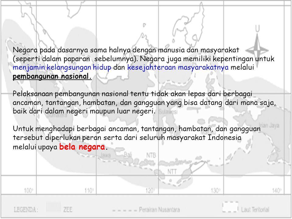 Upaya bela negara adalah sikap dan perilaku warga negara negara yang dijiwai oleh kecintaannya kepada Negara Kesatuan Republik Indonesia yang berdasarkan Pancasila dan UUd 1945 dalam menjamin kelangsungan hidup bangsa dan negara.