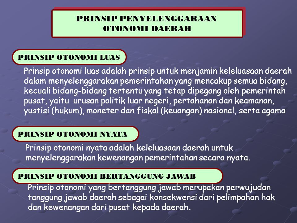 PRINSIP PENYELENGGARAAN OTONOMI DAERAH PRINSIP PENYELENGGARAAN OTONOMI DAERAH PRINSIP OTONOMI LUAS Prinsip otonomi luas adalah prinsip untuk menjamin
