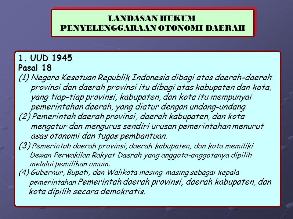 LANDASAN HUKUM PENYELENGGARAAN OTONOMI DAERAH LANDASAN HUKUM PENYELENGGARAAN OTONOMI DAERAH 1. UUD 1945 Pasal 18 (1) Negara Kesatuan Republik Indonesi