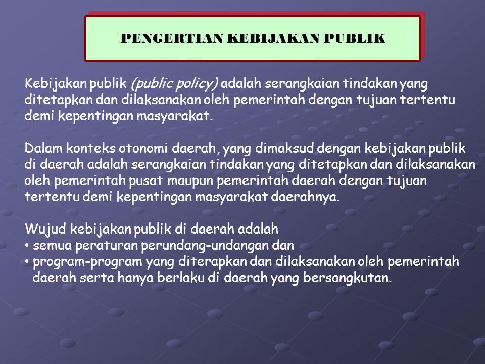 Kebijakan publik (public policy) adalah serangkaian tindakan yang ditetapkan dan dilaksanakan oleh pemerintah dengan tujuan tertentu demi kepentingan masyarakat.