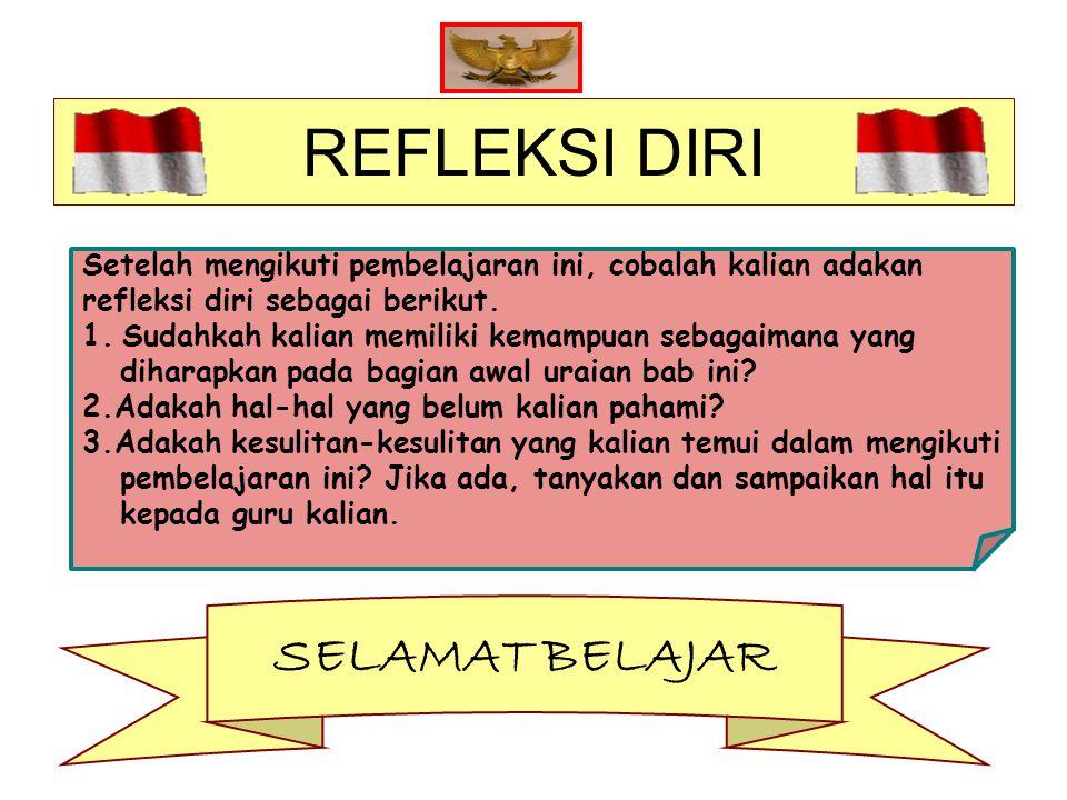 REFLEKSI DIRI Setelah mengikuti pembelajaran ini, cobalah kalian adakan refleksi diri sebagai berikut.