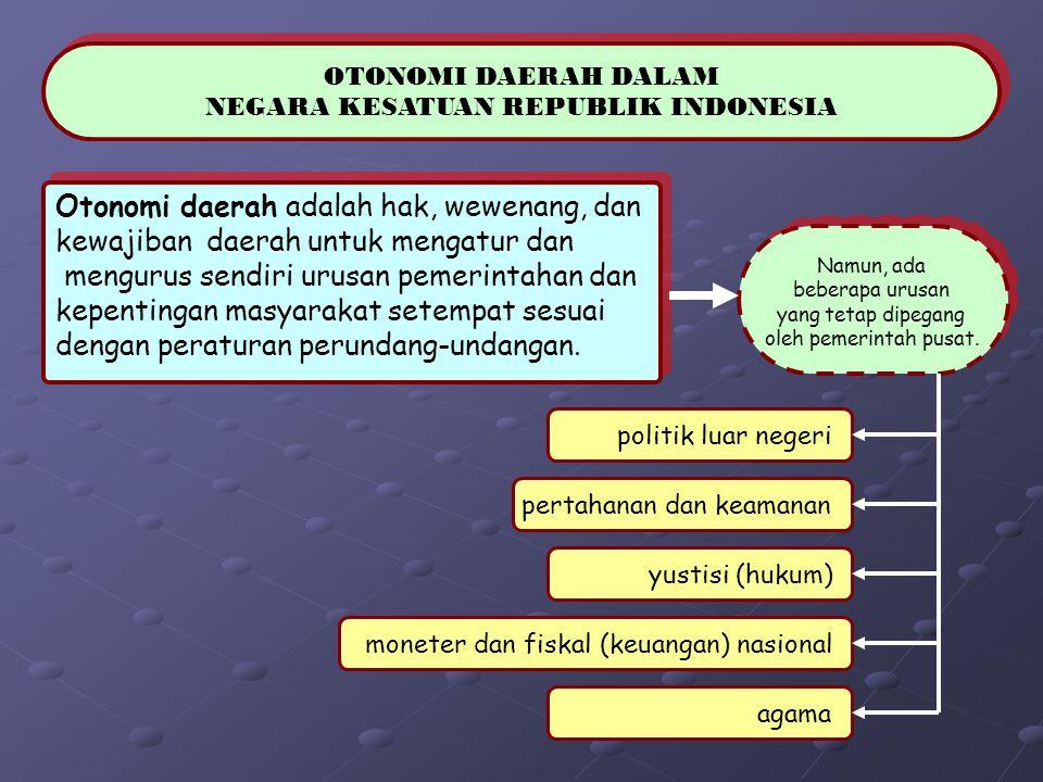 OTONOMI DAERAH DALAM NEGARA KESATUAN REPUBLIK INDONESIA OTONOMI DAERAH DALAM NEGARA KESATUAN REPUBLIK INDONESIA Otonomi daerah adalah hak, wewenang, d