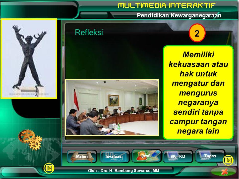 MateriEvaluasi Profil SK - KD Oleh : Drs. H. Bambang Suwarso, MM Pendidikan Kewarganegaraan Tugas 1