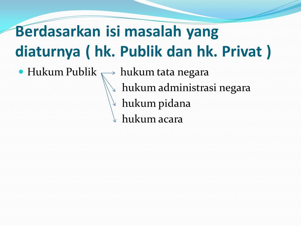 Berdasarkan isi masalah yang diaturnya ( hk. Publik dan hk. Privat ) Hukum Publik hukum tata negara hukum administrasi negara hukum pidana hukum acara