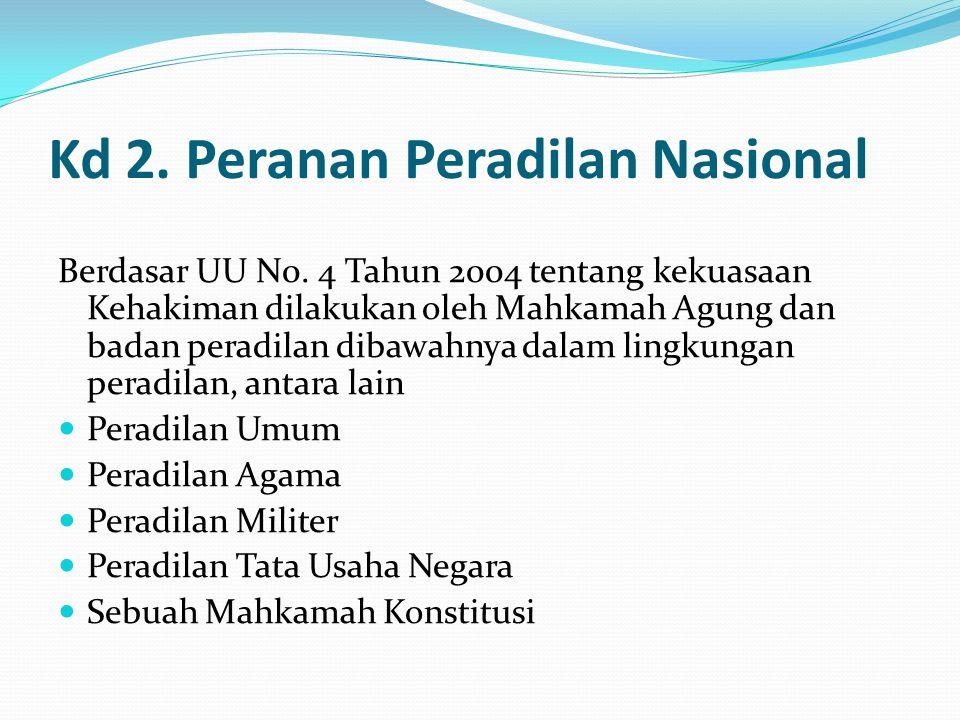 Kd 2. Peranan Peradilan Nasional Berdasar UU N0. 4 Tahun 2004 tentang kekuasaan Kehakiman dilakukan oleh Mahkamah Agung dan badan peradilan dibawahnya