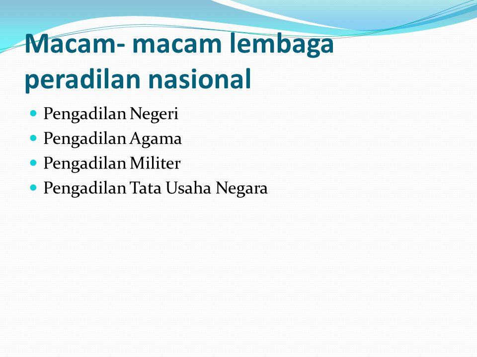 Macam- macam lembaga peradilan nasional Pengadilan Negeri Pengadilan Agama Pengadilan Militer Pengadilan Tata Usaha Negara